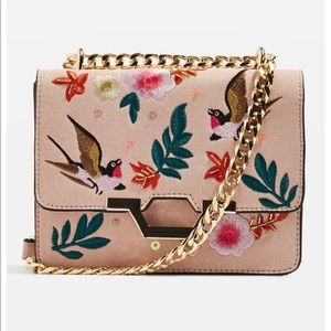 Topshop | Pink Embroidered Crossbody Bag